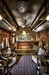 Luxary period train car interior from the early 1900's.