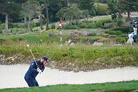 Tyrrell Hatton (ENG) on the 18th during the final round of the US Open Championship, Pebble Beach Golf Links, Monterrey, Calafornia, USA. 16/06/2019.<br /> Picture Fran Caffrey / Golffile.ie<br /> <br /> All photo usage must carry mandatory copyright credit (© Golffile | Fran Caffrey)
