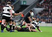 4th November 2017, Twickenham Stadium, Twickenham, England; Autumn International Rugby, Barbarians versus New Zealand; Julian Saves of Barbarians with a back pass to Kwagga Smith of Barbarians