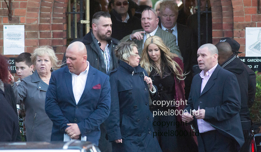 Ronnie Biggs funeral  Golders Green Crematorium<br /> 3.1.14<br /> Pics shows:<br /> Charmian Powell, the former wife of Ronnie Biggs, seen here in the grey coat with blonde hair<br /> <br /> Picture by Gavin Rodgers/ Pixel8000<br />  07917221968<br /> <br /> <br /> Picture by Gavin Rodgers/ Pixel8000<br />  07917221968