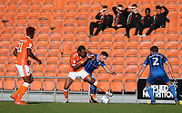 Blackpool's Nathan Delfouneso battles with Rochdale's Ian Henderson<br /> <br /> Photographer Stephen White/CameraSport<br /> <br /> The EFL Sky Bet League One - Blackpool v Rochdale - Saturday 6th October 2018 - Bloomfield Road - Blackpool<br /> <br /> World Copyright &copy; 2018 CameraSport. All rights reserved. 43 Linden Ave. Countesthorpe. Leicester. England. LE8 5PG - Tel: +44 (0) 116 277 4147 - admin@camerasport.com - www.camerasport.com