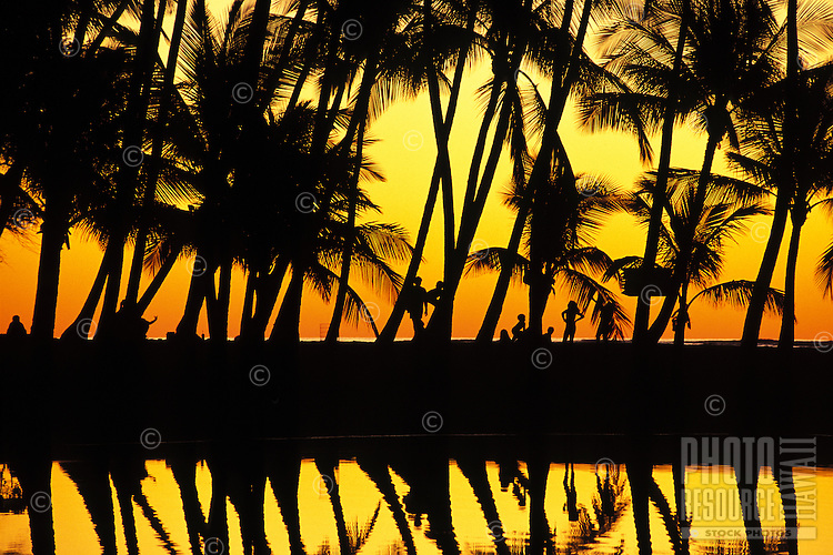Sunset at Anaehoomalu bay, Kohala area, with silhouetted palm trees, people and water reflections