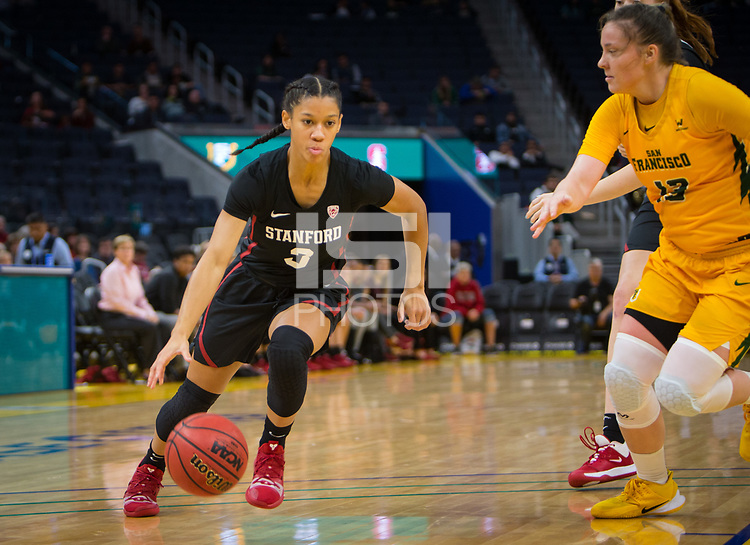 San Francisco, CA - November 9, 2019: Anna Wilson at the Chase Center. The Stanford Cardinal defeated the USF Dons 97-71.