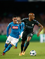 Football Soccer: UEFA Champions League Napoli vs Mabchester City San Paolo stadium Naples, Italy, November 1, 2017. <br /> Manchester City's Fabian Delph (r) in action with Jos&eacute; Callejon (l) during the Uefa Champions League football soccer match between Napoli and Manchester City at San Paolo stadium, November 1, 2017.<br /> UPDATE IMAGES PRESS/Isabella Bonotto