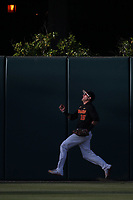 Corey Dempster (15) of the Southern California Trojans is unable to track down a home run during a game against the Stanford Cardinal at Dedeaux Field on April 6, 2017 in Los Angeles, California. Southern California defeated Stanford, 7-5. (Larry Goren/Four Seam Images)