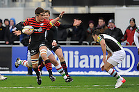 20130324 Copyright onEdition 2013©.Free for editorial use image, please credit: onEdition..Ernst Joubert of Saracens in action against Danny Care of Harlequins during the Premiership Rugby match between Saracens and Harlequins at Allianz Park on Sunday 24th March 2013 (Photo by Rob Munro)..For press contacts contact: Sam Feasey at brandRapport on M: +44 (0)7717 757114 E: SFeasey@brand-rapport.com..If you require a higher resolution image or you have any other onEdition photographic enquiries, please contact onEdition on 0845 900 2 900 or email info@onEdition.com.This image is copyright onEdition 2013©..This image has been supplied by onEdition and must be credited onEdition. The author is asserting his full Moral rights in relation to the publication of this image. Rights for onward transmission of any image or file is not granted or implied. Changing or deleting Copyright information is illegal as specified in the Copyright, Design and Patents Act 1988. If you are in any way unsure of your right to publish this image please contact onEdition on 0845 900 2 900 or email info@onEdition.com