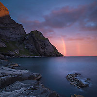 Rainbow at Sunrise over mountains from Bunes Beach, Moskenesoy, Lofoten Islands, Norway