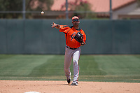 San Francisco Giants Orange second baseman Hector Santiago (43) makes a throw to first base during an Extended Spring Training game against the Oakland Athletics at the Lew Wolff Training Complex on May 29, 2018 in Mesa, Arizona. (Zachary Lucy/Four Seam Images)
