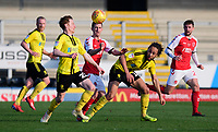 Fleetwood Town's Jason Holt vies for possession with Burton Albion's Stephen Quinn, left, and Burton Albion's Marcus Harness<br /> <br /> Photographer Chris Vaughan/CameraSport<br /> <br /> The EFL Sky Bet League One - Saturday 23rd February 2019 - Burton Albion v Fleetwood Town - Pirelli Stadium - Burton upon Trent<br /> <br /> World Copyright © 2019 CameraSport. All rights reserved. 43 Linden Ave. Countesthorpe. Leicester. England. LE8 5PG - Tel: +44 (0) 116 277 4147 - admin@camerasport.com - www.camerasport.com