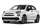 Stock pictures of low aggressive front three quarter view of 2020 Fiat 500X Sport 5 Door SUV Low Aggressive