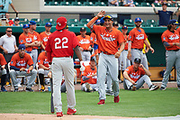 Palm Beach Cardinals pitcher Junior Fernandez (right) congratulates teammate Randy Arozarena (22) during the home derby before the Florida State League All-Star Game on June 17, 2017 at Joker Marchant Stadium in Lakeland, Florida.  FSL North All-Stars  defeated the FSL South All-Stars  5-2.  (Mike Janes/Four Seam Images)