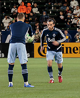 CARSON, CA - MARCH 07: Russell Teibert of the Vancouver Whitecaps warming up during a game between Vancouver Whitecaps and Los Angeles Galaxy at Dignity Health Sports Park on March 07, 2020 in Carson, California.