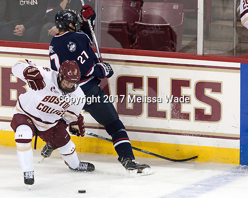 Mike Booth (BC - 12), Maxim Letunov (UConn - 27) - The Boston College Eagles defeated the visiting UConn Huskies 2-1 on Tuesday, January 24, 2017, at Kelley Rink in Conte Forum in Chestnut Hill, Massachusetts.