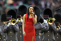 British soprano singer Laura Wright sings the British national anthem prior to the match. RBS Six Nations match between England and Scotland on February 2, 2013 at Twickenham Stadium in London, England. Photo by: Patrick Khachfe / Onside Images