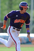 Third Baseman Richie Shaffer #8 runs to third during a  game against the Miami Hurricanes at Doug Kingsmore Stadium on March 31, 2012 in Clemson, South Carolina. The Tigers won the game 3-1. (Tony Farlow/Four Seam Images).