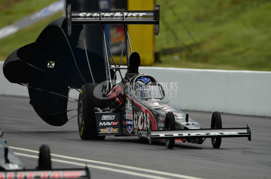 Jun. 17, 2012; Bristol, TN, USA: NHRA top fuel dragster driver Bruce Litton during the Thunder Valley Nationals at Bristol Dragway. Mandatory Credit: Mark J. Rebilas-