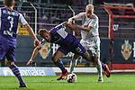 12.10.2018, Stadion an der Bremen Bruecke, Osnabrueck, GER, FSP, 1.FBL, VfL Osnabrueck vs Werder Bremen<br /> <br /> DFL REGULATIONS PROHIBIT ANY USE OF PHOTOGRAPHS AS IMAGE SEQUENCES AND/OR QUASI-VIDEO.<br /> <br /> im Bild / picture shows<br /> Felix Schiller (VfL Osnabrueck #25) im Duell / im Zweikampf mit Davy Klaassen (Werder Bremen #30), <br /> <br /> Foto © nordphoto / Ewert