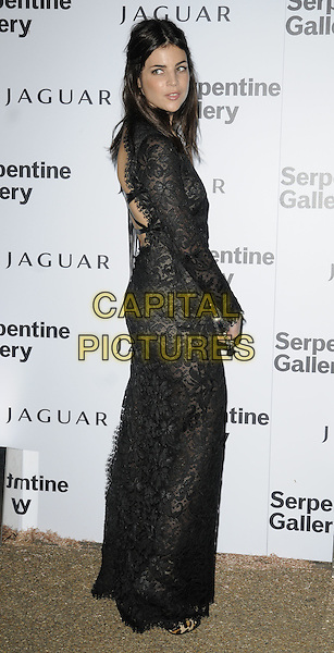 JULIA RESTOIN-ROITFELD.At the Serpentine Gallery Summer Party, Serpentine Gallery, Hyde Park, London, England, UK, July 8th 2010..full length black dress lace long maxi sleeve back over shoulder side rear behind .CAP/CAN.©Can Nguyen/Capital Pictures.