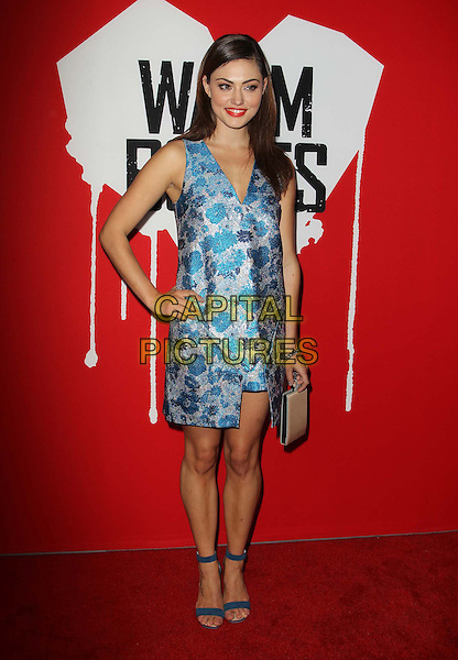 """Phoebe Tonkin.""""Warm Bodies"""" Los Angeles Premiere held at the Cinerama Dome, Hollywood, California, USA..January 29th, 2013.full length blue silver dress floral print open toe ankle strap shoes hand on hip.CAP/ADM/KB.©Kevan Brooks/AdMedia/Capital Pictures."""