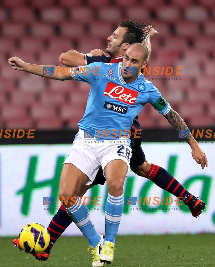NAPOLI 16-12-2012.CALCIO SERIE A NAPOLI VS BOLOGNA.NELL FOTO PAOLO CANNAVARO E ALBERTO GILARDINO.Insidefoto