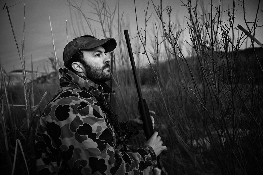 Nick Romano hunts waterfowl on the Beaverhead River near Dillon, Montana.
