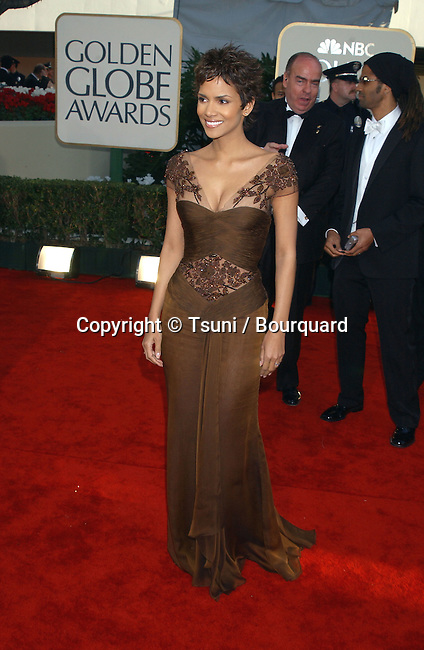 Nominee for Best Actress, Motion Picture Drama (Monster's Ball), Halle Berry arrives at The 59th Annual Golden Globe Awards held at the Beverly Hilton Hotel in Los Angeles, Ca., Sunday, January 20, 2002.  BerryHalle02A.JPG