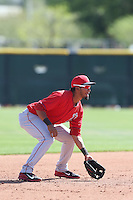 Jose Rondon #8 of the Los Angeles Angels during a Minor League Spring Training Game against the Oakland Athletics at the Los Angeles Angels Spring Training Complex on March 17, 2014 in Tempe, Arizona. (Larry Goren/Four Seam Images)