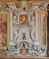 Sacrifice of the ram in carved stucco from a frame of a fresco by Rosso Fiorentino, 1535-37, in the Galerie Francois I, begun 1528, the first great gallery in France and the origination of the Renaissance style in France, Chateau de Fontainebleau, France. The Palace of Fontainebleau is one of the largest French royal palaces and was begun in the early 16th century for Francois I. It was listed as a UNESCO World Heritage Site in 1981. Picture by Manuel Cohen