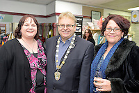 from left, Liz Krammer, Mayor Ray Wallace and Lisa Winter,  New Zealand Eco Fashion Exposed Opening Function at 151 High Street, Lower Hutt, New Zealand on Wednesday 23 July 2014. <br /> Photo by Masanori Udagawa. <br /> www.photowellington.photoshelter.com.