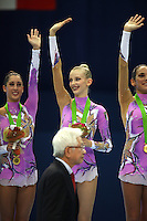 September 13, 2009; Mie, Japan;  (Center) Anzhelika Savrayuk and Italian rhythmic group celebrates  medal win in Event Final after earlier winning gold in group All Around the day before at the 2009 World Championships Mie, Japan. Photo by Tom Theobald.