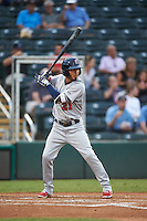 Brevard County Manatees right fielder Omar Garcia (21) at bat during a game against the Fort Myers Miracle on April 13, 2016 at Hammond Stadium in Fort Myers, Florida.  Fort Myers defeated Brevard County 3-0.  (Mike Janes/Four Seam Images)