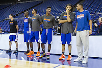 16.01.2013 London, England. New York Knicks players line up for team practice ahead of the NBA London Live 2013 game between the Detroit Pistons and the New York Knicks from The O2 Arena
