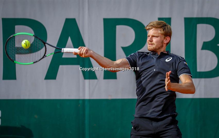 Paris, France, 27 May, 2018, Tennis, French Open, Roland Garros, David Goffin (BEL)<br /> Photo: Henk Koster/tennisimages.com
