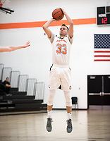 The Occidental College men's basketball team plays against Chapman College in Rush Gym on Feb. 14, 2018.<br /> (Photo by Marc Campos, Occidental College Photographer)