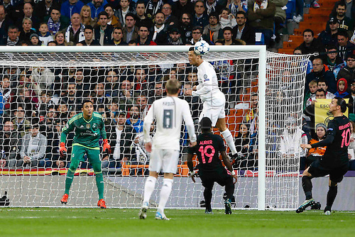 03.11.2015. Madrid, Spain.  Cristiano Ronaldo dos Santos (7) Real Madrid climbs for the header during the soccer match UCL Champions League between Real Madrid and PSG at the Santiago Bernabeu stadium in Madrid, Spain, November 3, 2015.