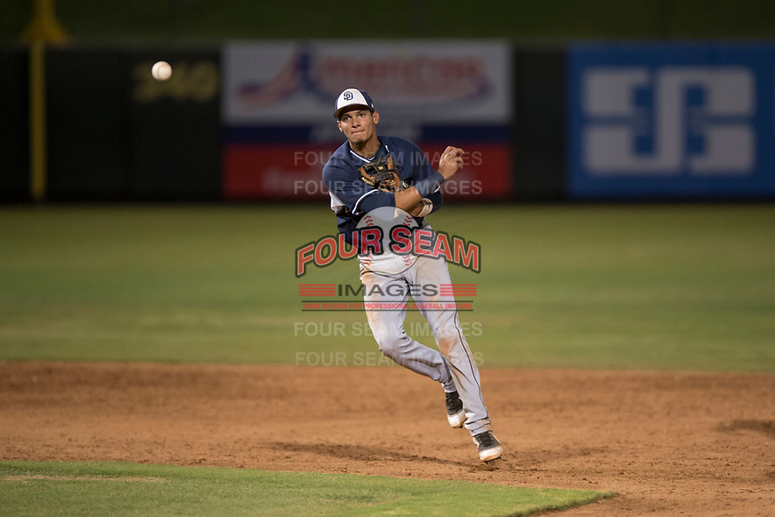 AZL Padres 2 shortstop Tucupita Marcano (1) makes a throw to first base during an Arizona League game against the AZL Angels at Tempe Diablo Stadium on July 18, 2018 in Tempe, Arizona. The AZL Padres 2 defeated the AZL Angels 8-1. (Zachary Lucy/Four Seam Images)