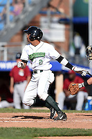 Jamestown Jammers outfielder Enyel Vallejo (2) at bat during a game against the Mahoning Valley Scrappers on June 15, 2014 at Russell Diethrick Park in Jamestown, New York.  Jamestown defeated Mahoning Valley 9-4.  (Mike Janes/Four Seam Images)