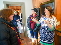 Designer Amy Inman speaks with guests about her room, the kitchen, and what she will do with the room at the Bucks County Designer House Empty House Party Sunday, February 26, 2017 in Buckingham, Pennsylvania. (Photo by William Thomas Cain)