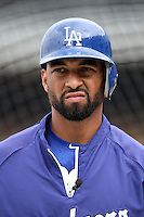 Matt Kemp #27 of the Los Angeles Dodgers before game against the San Francisco Giants at Dodger Stadium in Los Angeles,California on April 3, 2011. Photo by Larry Goren/Four Seam Images