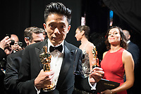 Kazuhiro Tsuji poses backstage with the Oscar&reg; for Achievement in makeup, for work on &ldquo;Darkest Hour&rdquo; during the live ABC Telecast of The 90th Oscars&reg; at the Dolby&reg; Theatre in Hollywood, CA on Sunday, March 4, 2018.<br /> *Editorial Use Only*<br /> CAP/PLF/AMPAS<br /> Supplied by Capital Pictures