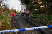 Pictured: A general view of the scene of the fire at Ffair Rhos in Ceredigion, Wales, UK.<br /> Re: A three-year-old boy was killed in a caravan fire in the early hours of Sunday morning at Ffair Rhos, near Tregaron, Ceredigion, west Wales.<br /> His four year old brother is in a critical but stable condition in hospital and his dad's condition is stable.<br /> The fire service said a touring caravan and vehicle were completely destroyed and adjacent property damaged in the blaze.<br /> Emergency services had been called to the scene at 5.35am on Sunday.