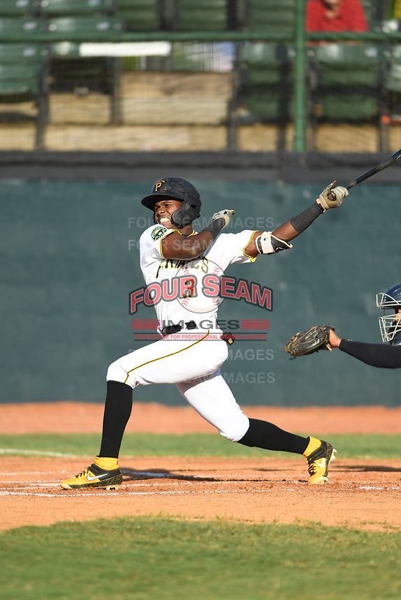 Bristol Pirates Jesus Valdez (3) follows through on a swing against the Pulaski Yankees at Boyce Cox Field on July 8, 2019 in Bristol, Virginia. The Yankees defeated the Pirates 5-0. (Tracy Proffitt/Four Seam Images)