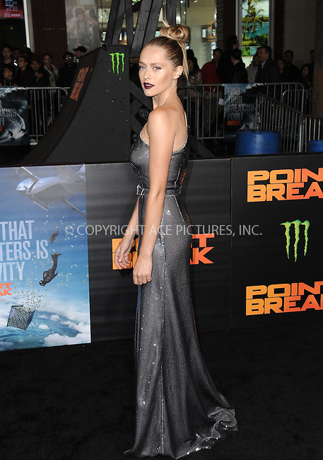 WWW.ACEPIXS.COM<br /> <br /> December 15 2015, LA<br /> <br /> Teresa Palmer arriving at the premiere of 'Point Break' at the TCL Chinese Theatre on December 15, 2015 in Hollywood, California.<br /> <br /> By Line: Peter West/ACE Pictures<br /> <br /> <br /> ACE Pictures, Inc.<br /> tel: 646 769 0430<br /> Email: info@acepixs.com<br /> www.acepixs.com