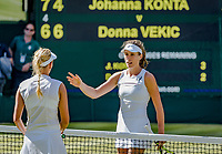 London, England, 5 th July, 2017, Tennis,  Wimbledon,     Johanna Konta (GBR) is congratulated by  Donna Vekic (CRO) (L) Konta won the match 7/6 4/6 10/8.<br /> Photo: Henk Koster/tennisimages.com