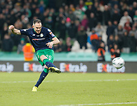 3rd November 2019; Aviva Stadium, Dublin, Leinster, Ireland; FAI Cup Final Football, Dundalk Football Club versus Shamrock Rovers; Joey O'Brien scores his penalty for Shamrock Rovers in the after-game penalty shoot-out - Editorial Use