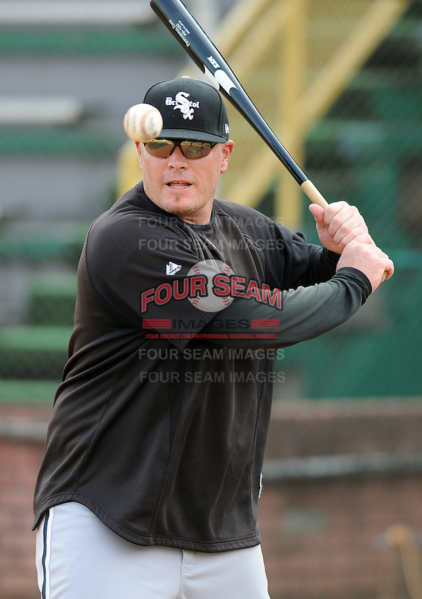 Manager Pete Rose Jr. (14) of the Bristol White Sox, Appalachian League affiliate of the Chicago White Sox, prior to a game against the Elizabethton Twins on August 18, 2011, at Joe O'Brien Field in Elizabethton, Tennessee. (Tom Priddy/Four Seam Images)