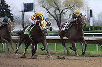 Photo By Michael R. Schmidt.Done Talking (13) edges out Morgan's Guerrilla (12) for the 55th running of the grade III Illinois Derby Saturday afternoon at Hawthorne Racecourse. Sheldon Russell was aboard Done Talking; Trainer, Hamilton A. Smith; Bred in Kentucky by Skeedattle Associates.