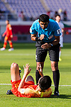FIFA Referee Mohammed Abdulla Hassan Mohamed (UAE) speaks to Liu Yang of China during the AFC Asian Cup UAE 2019 Group C match between China (CHN) and Kyrgyz Republic (KGZ) at Khalifa Bin Zayed Stadium on 07 January 2019 in Al Ain, United Arab Emirates. Photo by Marcio Rodrigo Machado / Power Sport Images
