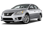 Low aggressive front three quarter view of a 2013 Nissan Sentra SR