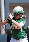 March 7, 2012:   Sacramento State Hornets lead off hitter Devin Caldwell bats against the Nevada Wolf Pack during their NCAA softball game played at Christina M. Hixson Softball Park on Wednesday in Reno, Nevada.